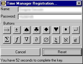 Time Magager's Registration Key Entry Form